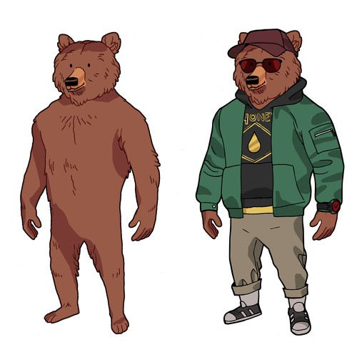 Fashion Bear Mascot for T-Shirt Design