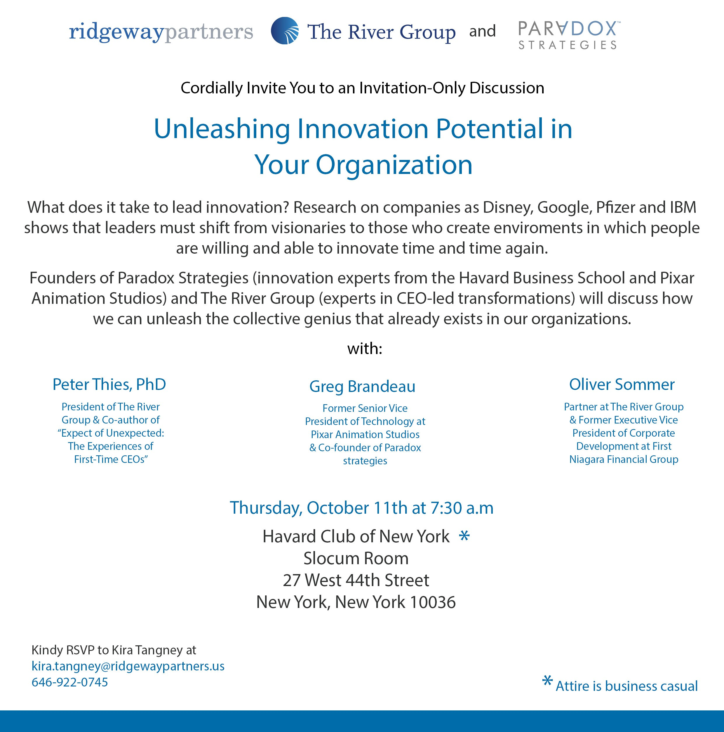 Breakfast Event Invitation - Unleashing Innovation Potential in Your Organization