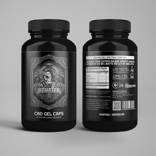 Label for an all-black, 60 Gel cap Pill bottle
