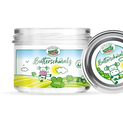 Etikett für Butterschmalz direkt vom Bauern