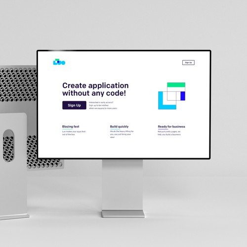 Clean design of a landing page for LUO
