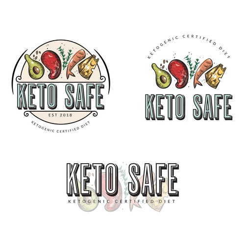 Colorful logo concept for a low carb diet nutritionist