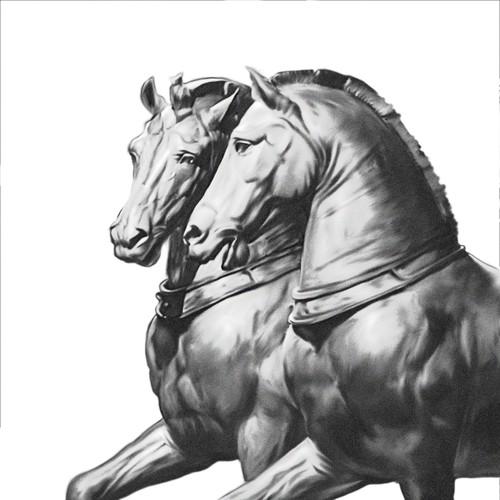 Bronze Horse Statue Tattoo Design