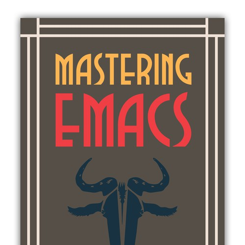Create a book cover for the world's oldest text editor, Emacs