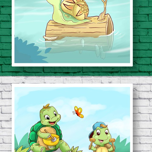 Friendly sensitive turtle and snail