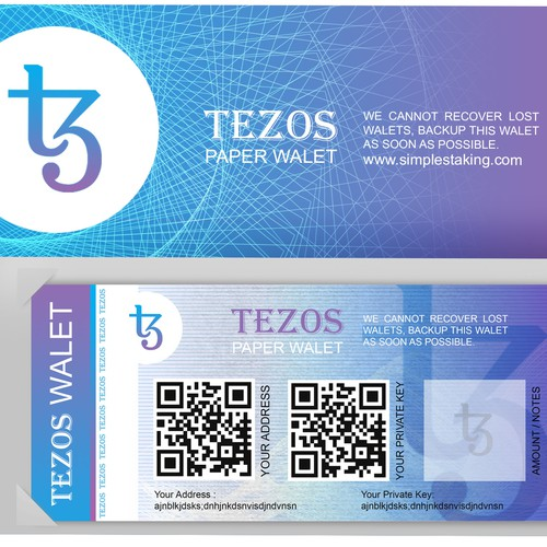 Tezos Paper Walet for simplestalking.com
