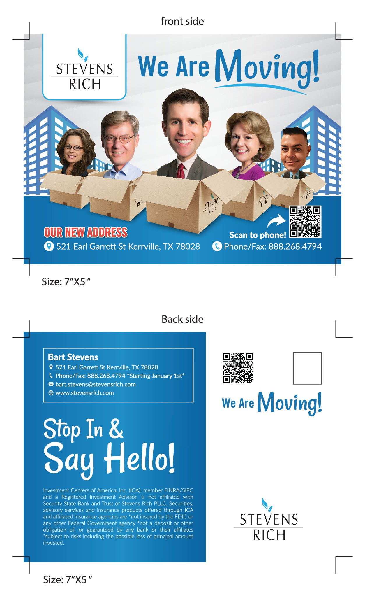 Help create Creative and Fun *We're Moving!* postcard with bobble-head cartoon avatars!