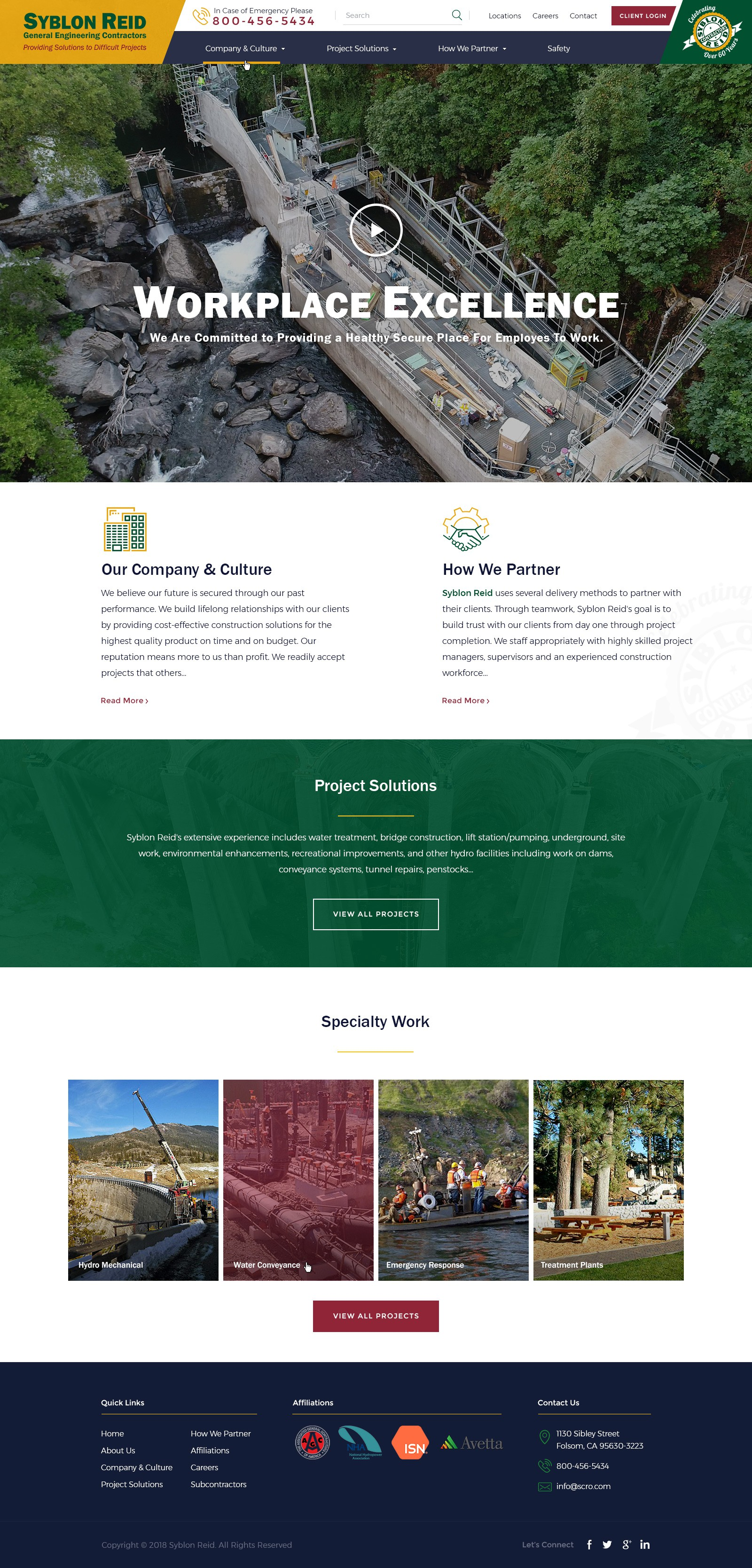 65+ year construction company website re-design.  Homepage to infinity!