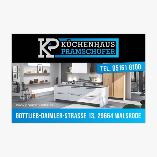 Werbeschild für ein Küchenstudio