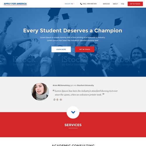 Clean website design for Apply For America