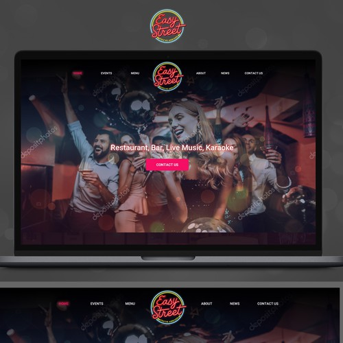 Bar and Restaurant website for a place with live music and fun atmosphere