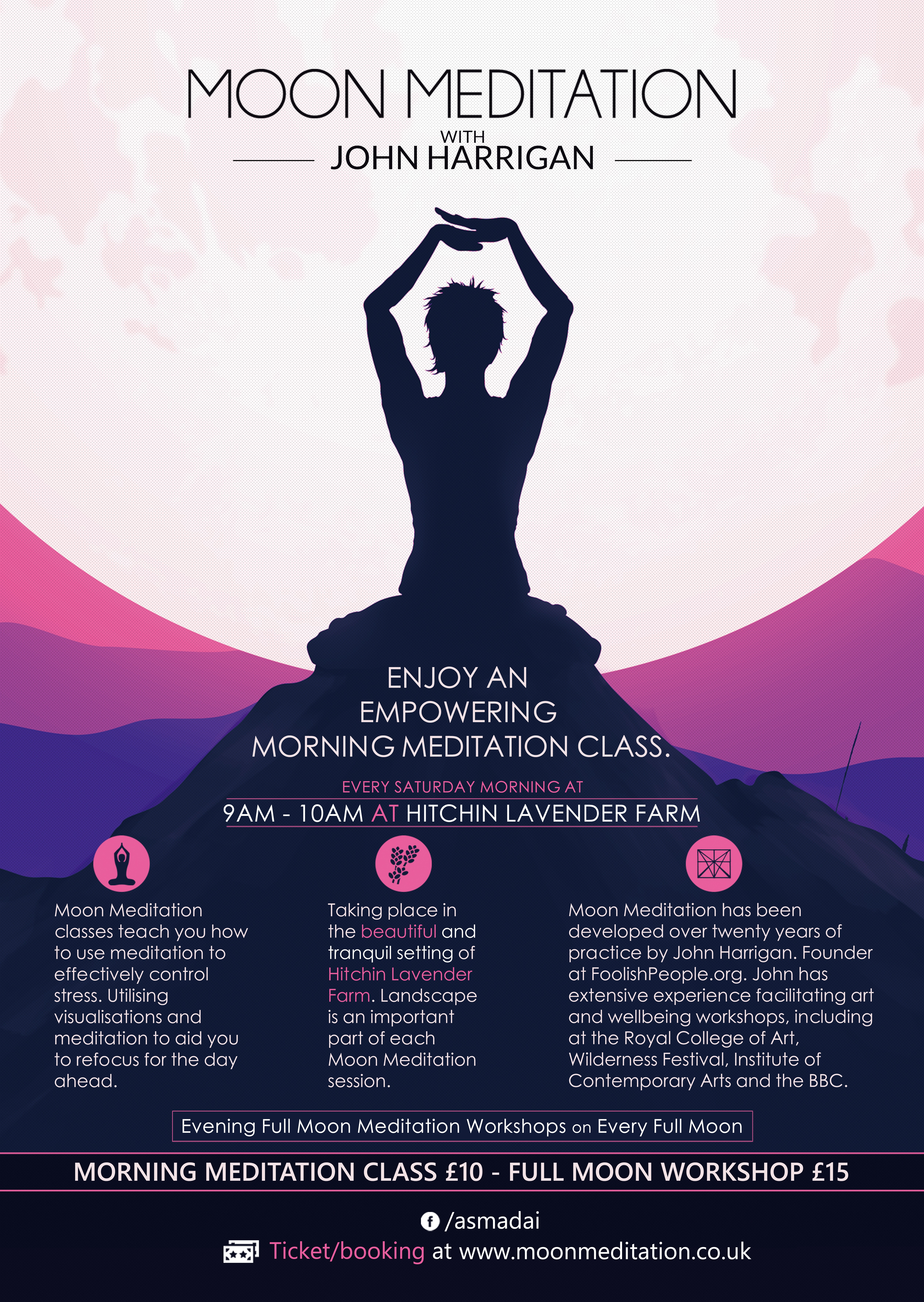 Mondo style poster for a Meditation Class