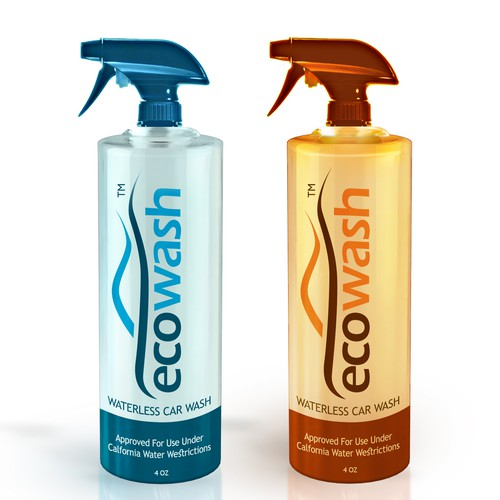 Create a modern, sleek product label for ECOWASH!