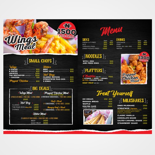 Foldable Menu for a Foodtruck