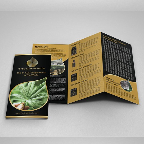 Create a brochure for Tru Organics - High CBD Hemp Oil Products
