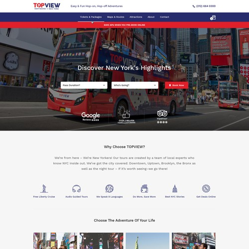 Homepage design for Bus tour Company