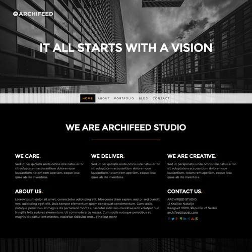 Sample logo and website template for 99designs community contest