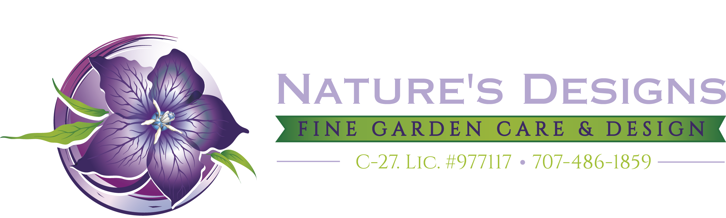Create a Purple flower logo for Nature's Designs, a sustainable garden design company