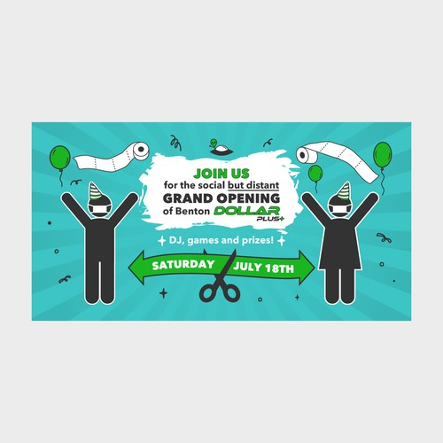 Comical eye catching grand opening banner
