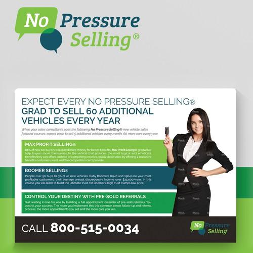 No Pressure Selling Postcard Design