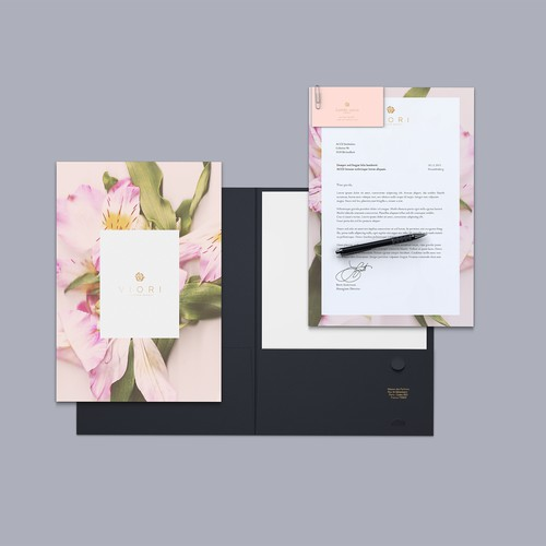 Feminine floral branding for a skincare company