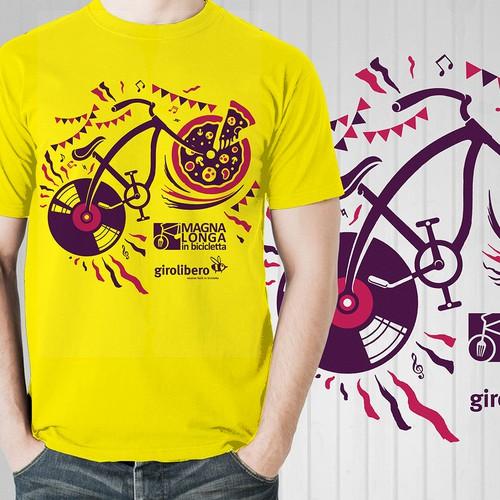 Tshirt design for magna longa in bicicleta