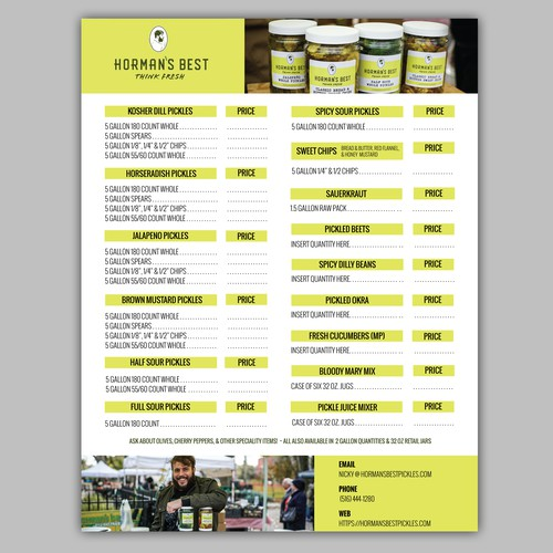 Sales Sheet for Horman's Best Pickle Company