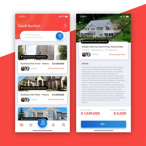 Auction app for houses and cars