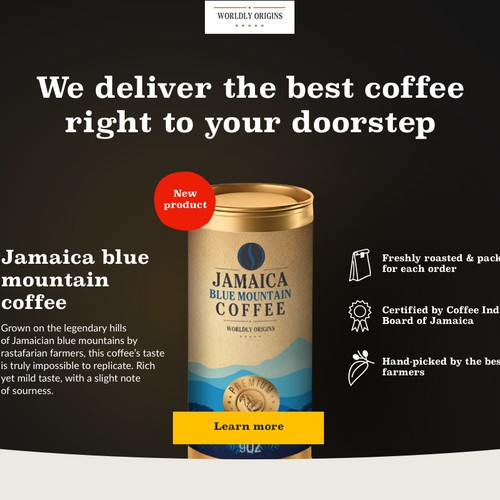Website concept for coffee company