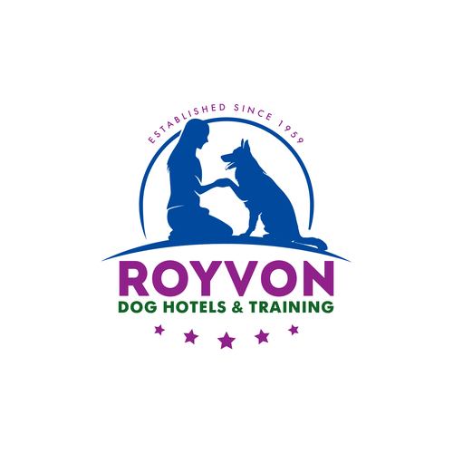 Modern dog training school logo