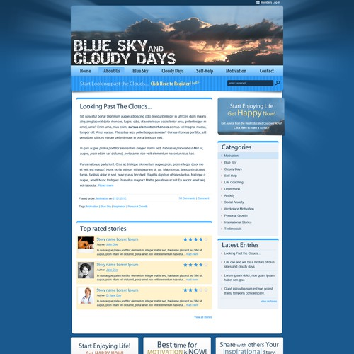 New WP Theme Site Design for Blue Sky