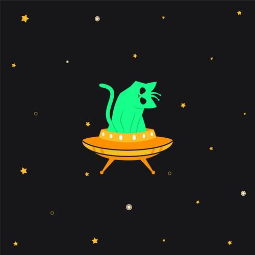 alien cat logo