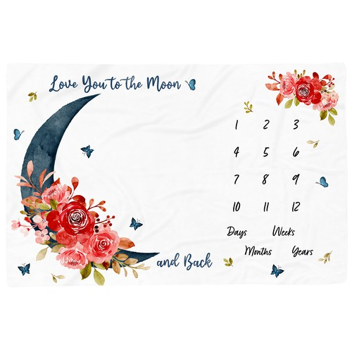 Milestone blanket design with moon and roses