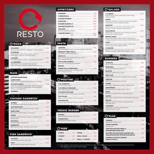 Menu design for O-resto