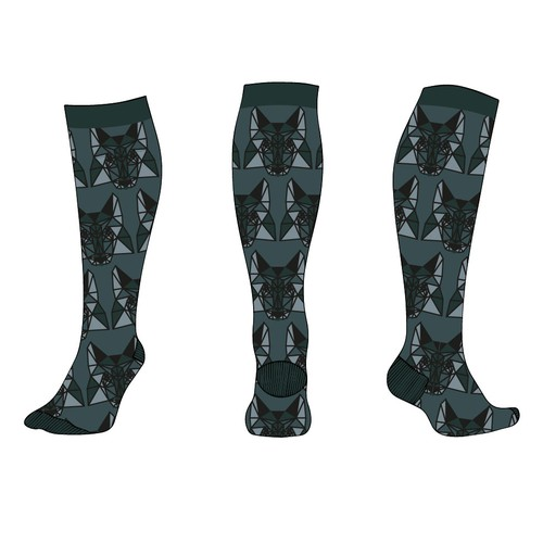 Low poly wolf sock and pocket squares pattern design for man