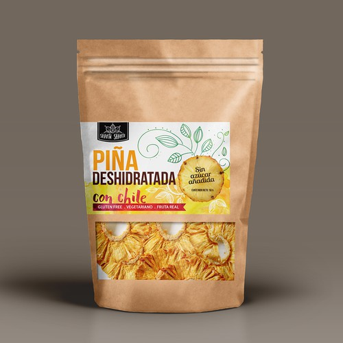 Organic label design for dehydrated fruits chips package