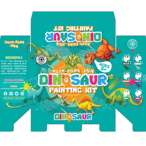 Playful Packaging for Dinosaur Painting Kit to Entice Children to Learn, Paint and Play!