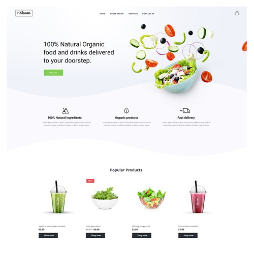 Ecommerce template for organic food ordering