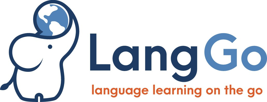 Design a unique logo for LangGo, a service for language learning on the go!