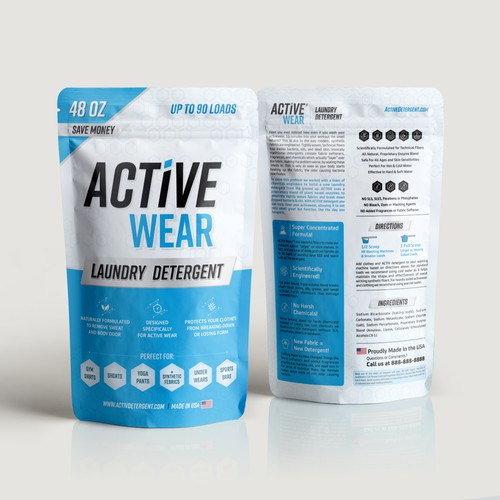 Packaging design for Active Wear laundry Detergent