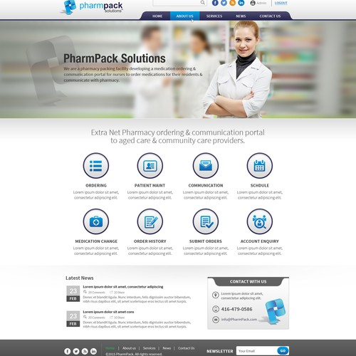 Home Page Design Concept For PharmPack or PharmPack Solutions