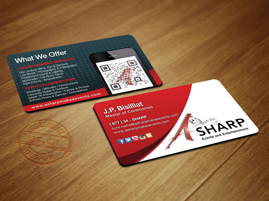 The NEW A Sharp Events and Entertainemnt busniess card ....Help Make us a Success