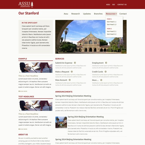 Stanford student portal needs awesome design (+ other pages!)