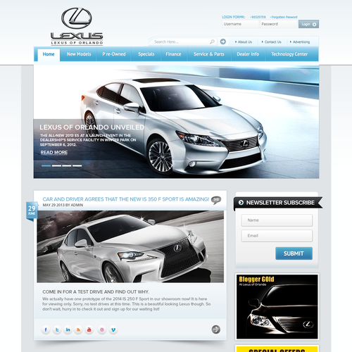 website design for Lexus of Orlando Blog