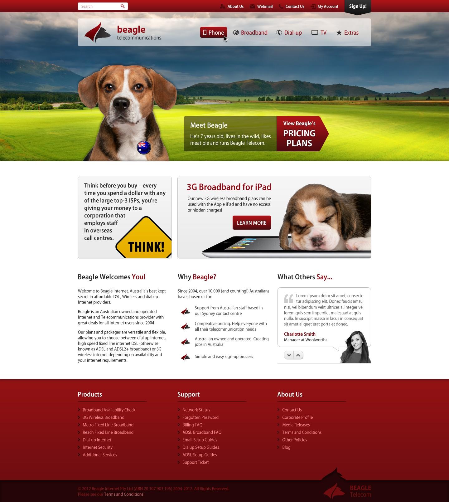 New website design wanted for Beagle Telecom