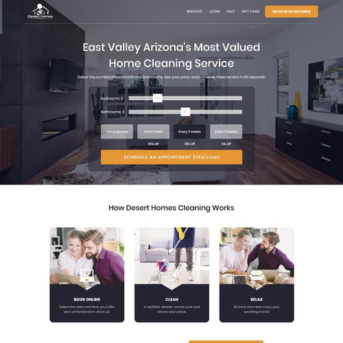 Desert Homes Cleaning wants a beautiful website to wow our customers