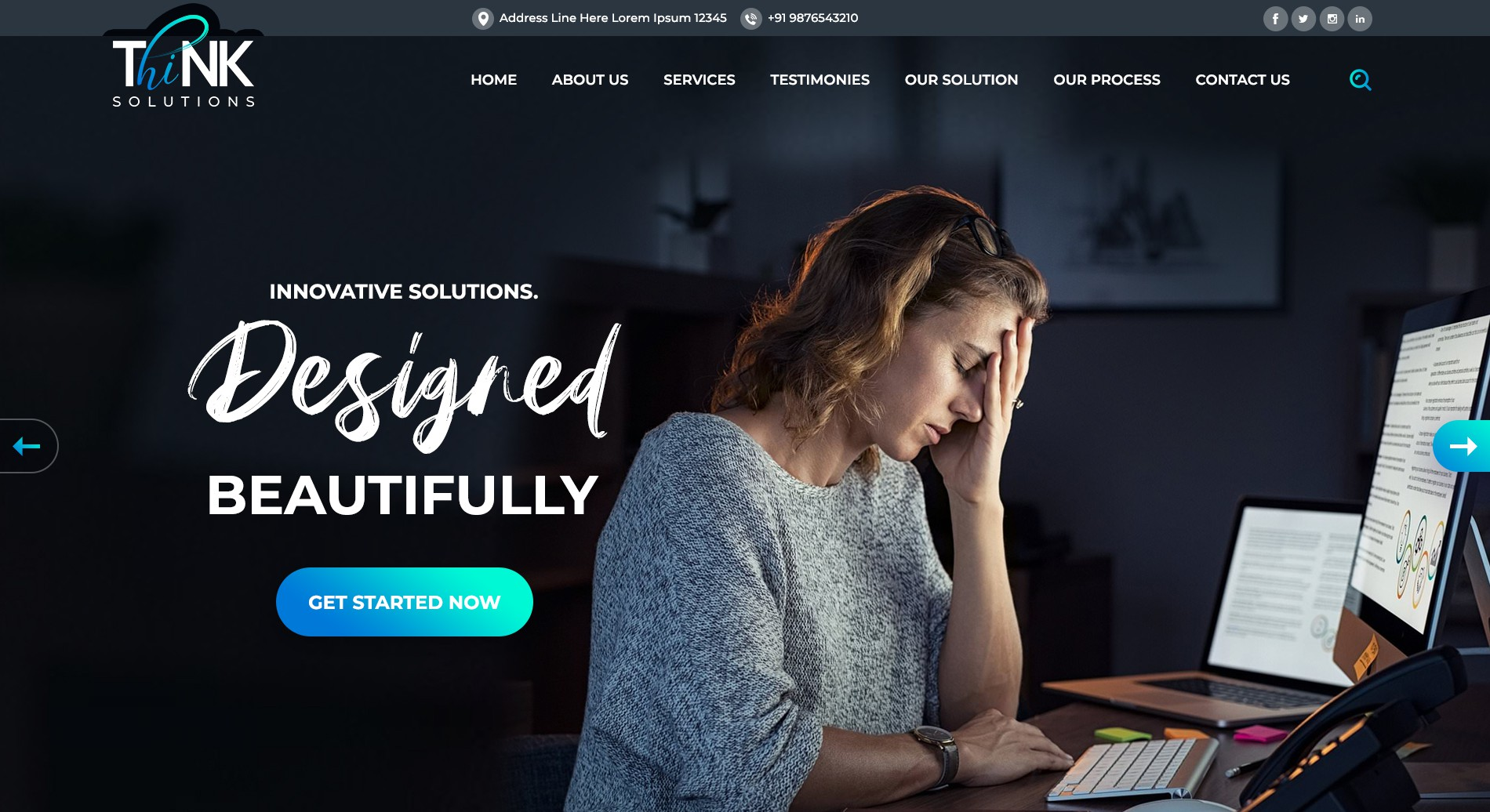 Home page website design for website design/development/IT hosting & support company