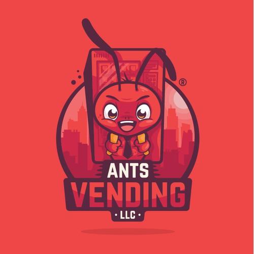Ant mascot carrying a vending machine
