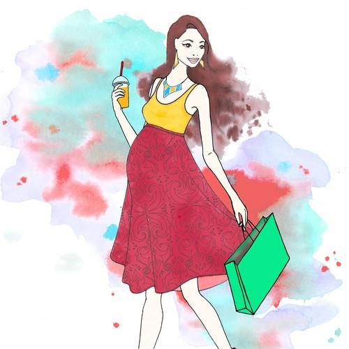 High fashion illustration of a pregnant lady shopping & having fun!