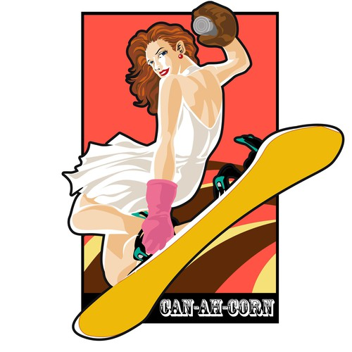 Pin-up Girl Mascot wanted for snowboard binding CAN_AH_CORN  is an easy catch